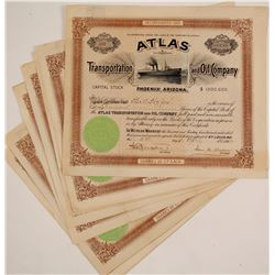 Atlas Transportation and Oil Co. Stocks (9 count)  (58929)