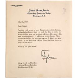 United States Senate Letter Signed by Lyndon B. Johnson  (60143)