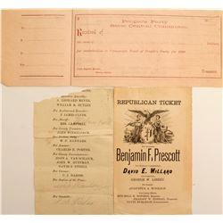 3 Different Political Documents Prescott for Governor  (50033)