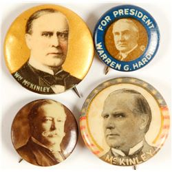 McKinley, Taft and Harding Buttons (4)  (64267)
