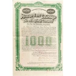 Milford and Uxbridge Street Railway Company Bond  (52622)
