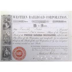 Western Railroad Corporation Stock Certificate, 1847  (63982)