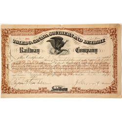 Toledo, Canada Southern and Detroit Railway Company Stock Certificate  (63933)