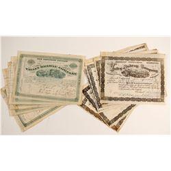 Valley Railway Company Stock Certificates  (86357)