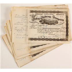Valley Railway Company Stock Certificates  (86362)