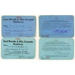 Fort Worth & Rio Grande Railway Annual Passes (1904 & 1908)  (39450)