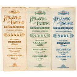 Atlantic and Pacific Railroad Bonds (3)  (65011)