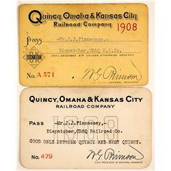 Quincy, Omaha and Kansas City Railroad Passes  (63275)