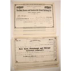 Two Different Railroad Stock Certificates:  PA & CT  (78936)