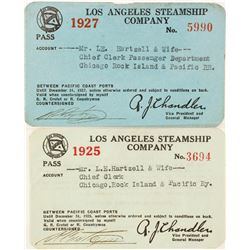 Two Los Angeles Steamship Co. Annual Passes  (63048)