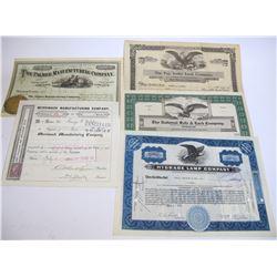 Assorted Stock Certificates (5)  (54624)