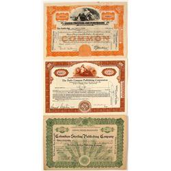 Three Publishing Stock Certificates  (71015)