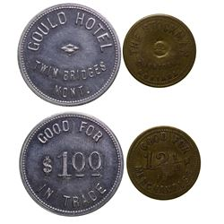 Two Madison County Tokens from Sheridan and Twin Bridges.  (40844)