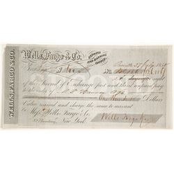 Wells Fargo Second of Exchange, Oroville, CA, 1858  (60110)
