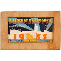 Hand Carved Wooded Plaque from Int. Expo. Chicago  (79132)