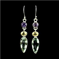 Natural Purple & Green Amethyst - Citrine Earrings