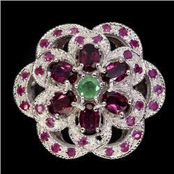 Natural Emerald Garnet Ruby Ring