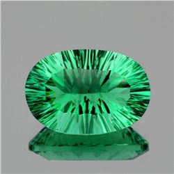 Natural ConCave Cut Emerald Green Fluorite 10.22 Ct FL