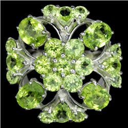 NATURAL APPLE GREEN PERIDOT FLOWER RING