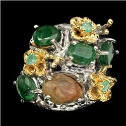 Natural Top Green Emerald & Rough Sapphire Ring