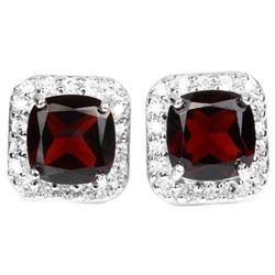 NATURAL Cushion DARK ORANGE RED GARNET Earrings