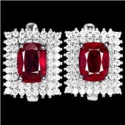 Natural GENUINE Cushion RED RUBY Earrings