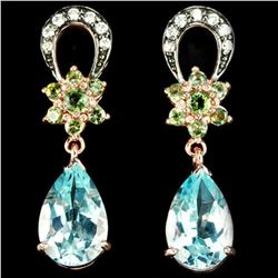 Natural SKY BLUE & GREEN TOPAZ & TOURMALINE Earrings
