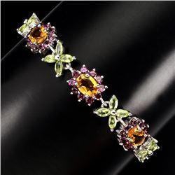 Natural Citrine Garnet Peridot Sapphire Bracelet