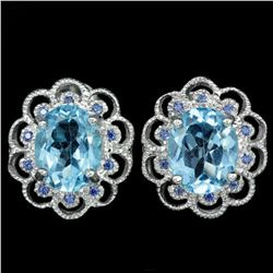 Natural AAA SWISS BLUE TOPAZ Earrings