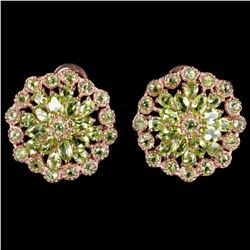 NATURAL AAA GREEN PERIDOT FLOWER 24x23 MM  EARRING
