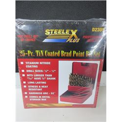"""New Drill Bit set 25 piece Brad Point for Woodworking 1/8 to 1/2"""" comes with"""