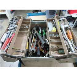 Metal Toolbox Full of Assorted Tools / no shipping on this item