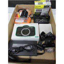 Tray full of Assorted Electronics / New laptop ac adaptors / carbon monoxide