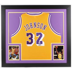 CUSTOM FRAMED SIGNED MAGIC JOHNSON LA LAKERS JERSEY (JSA COA)