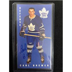 CARL BREWER AUTOGRAPHED TALL BOY HOCKEY CARD