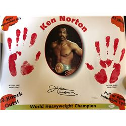 KEN NORTON SIGNED 11 X 14 PRINT WITH LIVE HAND PRINTS ( JSA COA)
