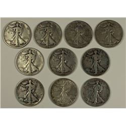 (10) WALKING LIBERTY HALF DOLLARS