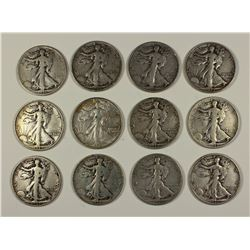 (12) WALKING LIBERTY HALF DOLLARS