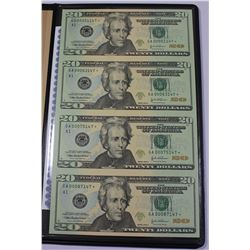 WORLD RESERVE UNCUT SHEET OF (4) $20