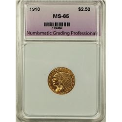 1910 $2.50 GOLD INDIAN NGP