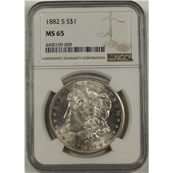 1882-S MORGAN SILVER DOLLAR NGC MS65
