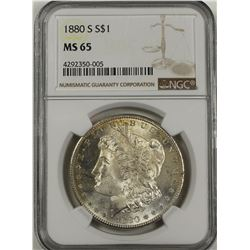 1880-S MORGAN SILVER DOLLAR NGC MS65