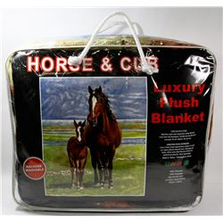 "NEW ""HORSE & CUB"" LUXURY PLUSH BLANKET"