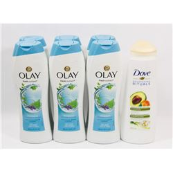 BAG OF OLAY BODY WASH AND DOVE SHAMPOO