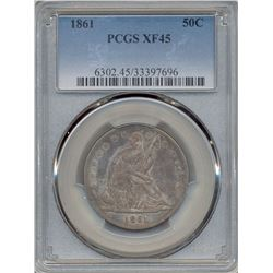 1861 Liberty Seated Half Dollar Coin PCGS XF45