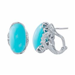 14KT White Gold 12.00ctw Turquoise and Diamond Earrings