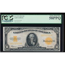 1922 $10 Gold Certificate PCGS 58PPQ