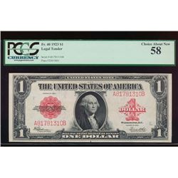 1923 $1 Legal Tender Note PCGS 58