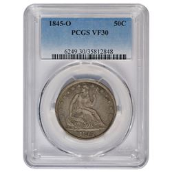 1845-O Seated Liberty Head Half Dollar Coin PCGS VF30