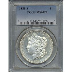 1881-S $1 Morgan Silver Dollar Coin PCGS MS64PL